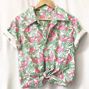 Tops - Flamingo Print Aloha Hawaiian Shirt